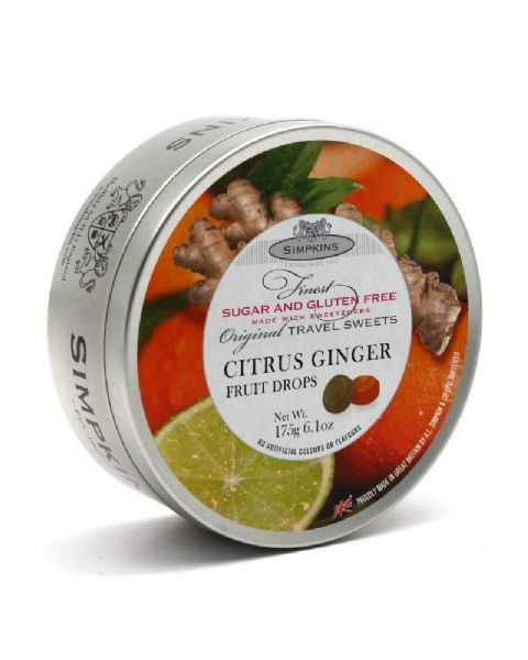 Citrus Ginger Sugar & Gluten Free - Simpkins Traditional Travel Sweets Tin 175g